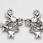 10Pcs Alice in Wonderland Rabbit Charm Tibet Silver Pendants Jewelry Findings