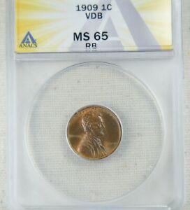 1909 VDB Lincoln Wheat Cent | ANACS MS65RD - High Grade Gem