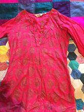 Biba Pink gold Cotton Top kaftan Long Sleeved Size 6 Vgc