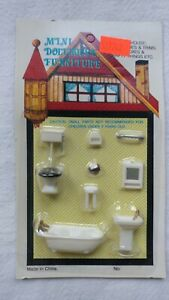 "1:48 1/4"" Scale Dollhouse Miniature Furniture Kit Bathroom Set - G1454"
