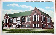 Pittsburg, KS 1951 Postcard: Kansas State Teachers College Library - Kans