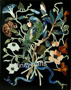 24 x 36 Inches Pietra Dura Art Patio Dinette Table Top Black Stone Wall Panel