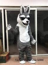 2018 Unisex Halloween Gray Fur Husky Dog Mascot Costume Suits Fox Adults Dress