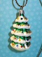 VINTAGE CHRISTMAS GLASS SNOWY DECORATED TREE ORNAMENT KURT S.ADLER
