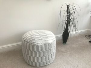 Micro Ice Faux Fur Pouffee / Footstool Ice White But See Photos Made in the UK