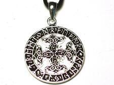 Viking Futhark Cross Pendant, Intuition, decision making. Runic alphabet.
