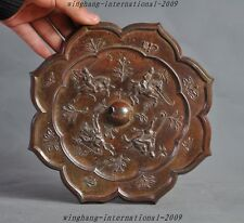 "8"" old Chinese pure bronze Generals horse riding hunting Exorcism Bronze mirror"