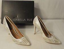 IZABELLA RUE Sidara Closed Toe Pointed Pump, White/Gold, Size 8.5 - NEW