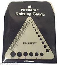 Polysew Knitting Needle Gauge Size Ruler Metric Triangle Ruler Crochet Gauge