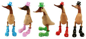 Wooden Duck polka dots Wellington boots and hat 25cm Quirky Freestanding new