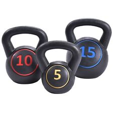 3 Pcs Sport Yoga Vinyl Kettlebell Kit Body Muscles Home Gym Training Weights Us