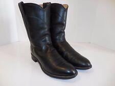 Justin 3133 Men's Black Kipskin Round Toe Roper Western Boots USA Made Sz 9.5 D