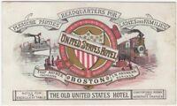 1880s United States Hotel -Boston American Chromolithographic Trade Card