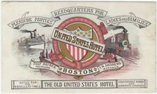 1880s United States Hotel -Boston Chromolithographic Trade Card