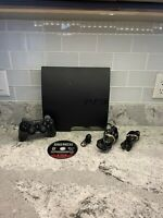Sony PlayStation 3 PS3 CECH-2501A Slim 160GB Black Console 2 Controllers, HDMI