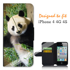 For Apple iPhone 4 4G 4S Wallet Flip Phone Case Cover Panda Grass Y00884