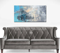 48x24 Abstract Art - Painting Blue Turquoise Peach Gray US Artist Modern Art
