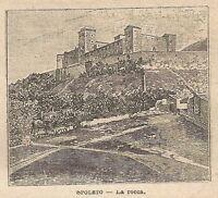 A0194 Spoleto - La Rocca - Stampa Antica del 1907 - Xilografia