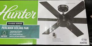 Hunter Perlman 44-in Matte Black Indoor/Outdoor Ceiling Fan (6-Blade)  51168 New