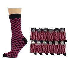 MENS FUSHIA PINK  & BLACK CHECK SQUARES ANKLE SOCKS - SIZE: UK 6-11 NEW