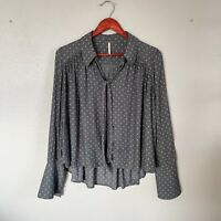 Free People Size S Small Grey Polka Dot Long Sleeve Button Up Blouse Women's