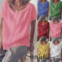 Summer Womens Casual Tops Blouse Short Sleeve Crew Neck Cotton Linen T-Shirt Tee