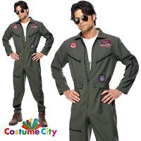 Adults Mens Official Top Gun Fighter Pilot Flight Suit Fancy Dress Party Costume