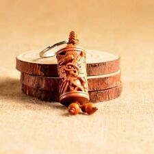 Wood Carving Chinese Feng Shui Geomancy Column Dragon Statue Key Chain Ring