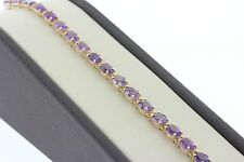 Oval Purple Amethyst 20.0ct TCW Statement Tennis Bracelet - 14K Yellow Gold - 7""