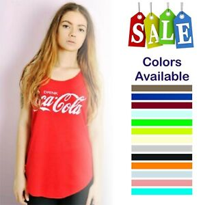 Women Ladies Coca Cola Slogan Print Vest Trendy Summer Tank Shirt Fashion Top