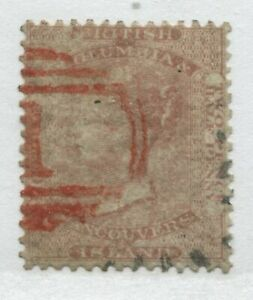 British Columbia 1860 2 1/2d dull rose perf 14 choice used