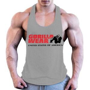 Gorilla wear cotton sleeveless tank top men Fitness muscle shirt Bodybuilding