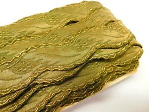 """26 YARDS Antique Vtg METALLIC GOLD OLIVE GREEN Ribbon TRIM 1 1/8"""" w on Orig Bolt"""