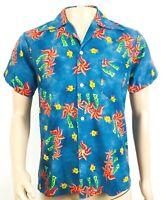 Vintage Hukilau Fashions Hawaiian Shirt Mens Medium ? Palm Tree Print Blue