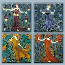 "Walter Crane painting Set of 4 Decorative Ceramic Tile Coaster 4.25"" #1"