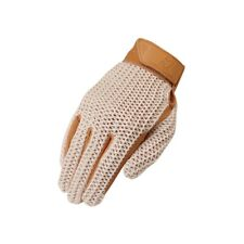 Crochet Riding Gloves Natural Adult Size 8 Classic Style Leather Cotton Mesh