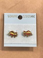 Dinosaur Cloisonne Earrings, Triceratops