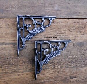 """Classic Pair Of GWR Victorian Scroll Antique Style Cast Iron Shelf Brackets 5"""""""