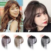 Thin Neat Air Bangs Remy Hair Extensions Clip in on Hairpiece= Fringe Front R3Q8