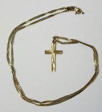 ".375 Collar De Oro Amarillo 9ct 16"" Cadena Cruz Colgante totalmente HM 2g - 232"