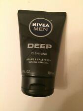 Nivea Men Deep Cleansing Beard & Face Wash Natural Charcoal 3.3 fl oz NEW