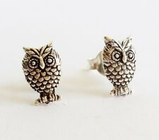 Boho Chic 925 Sterling Silver Owl stud earrings Israel made New