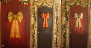 Giant Light Up Door Bow Gorgeous Christmas Decoration -Red/Silver /Gold/RoseGold