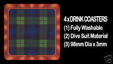 4  x  SCOTTISH TARTAN - CLAN - BLACK WATCH - DRINK COASTERS - Re-usable