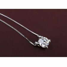 Fashion 925 Sterling Silver Plated 6mm Cubic Zirconia Tiny Pendant Necklace Gift