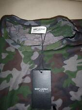 TAG Nuovo di zecca con Saint Laurent Jersey Di Cotone Stampa Mimetica T-shirt XS