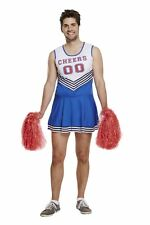 Mens Fancy Dress Up Outfit Cheerleader Costume With 2 Pom Poms Male Adult NEW
