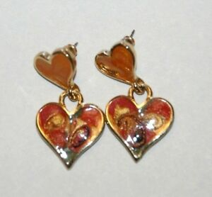 Made in The USA Vintage Heart Enamel Design Post Earrings