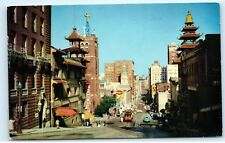 *1959 San Francisco California Street Cathay House VW Beetle Old Postcard A79