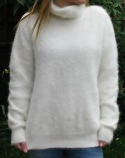 "NEW White Fluffy Soft Angora Sweater Jumper>42"">M>Chic>Funnel Neck>£31.99"